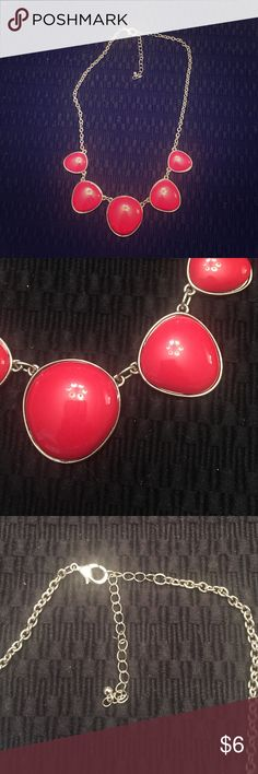 Necklace Red statement necklace, silver chain. Only worn once in great condition, just like new. Accessories