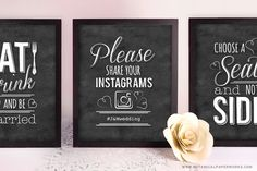 If you're looking for something fun with a bit of a vintage chic vibe for your wedding decor, these FREE printable wedding signs may be the perfect touch. Simply print, trim and frame your way to a stylish and fun wedding decor!