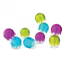 Colourful boon bath jellies that sucks on to the bath tub and walls.Boon bath toy also attach to each other creating colourful chain of bath jellies. THIS TOY SUCKS. To the wall, that is. These tiny jellyfish will never sting—but they will use their suction cup tentacles to stick to all sorts of stuff including…