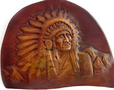 Indian Leather Stamp Patterns | Leather Carving Wall Art Indian Chi ef Custom Made To Order ...