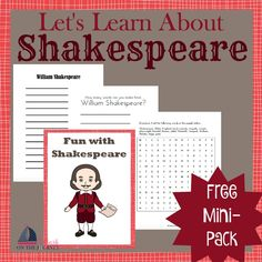 Use these free activity pages to have a little Shakespeare fun with your students. | embarkonthejourney.com