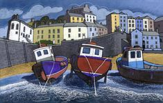 Fine art and original prints from some of the best artists in Wales & the UK - from Chris Neale to Jackie Morris, & Maggie Driscoll Williams. Watercolor Landscape, Landscape Art, Landscape Paintings, Boat Painting, Building Art, Naive Art, Art For Art Sake, Print Artist, Creative Art
