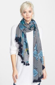 Tory Burch 'Persica' Stripe Wool Scarf available at #Nordstrom Love the colors.