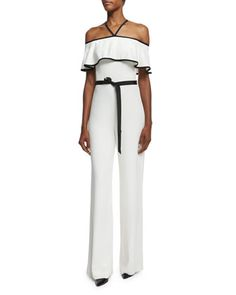 Spencer+Crepe+Off-the-Shoulder+Jumpsuit,+Vanilla+by+Alexis+at+Bergdorf+Goodman.