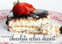 Layered Chocolate Eclair Dessert | Positively Splendid {Crafts, Sewing, Recipes and Home Decor}