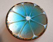 Hogan Bolas Brooch Pin Blue Enamelon Copper Vintage