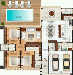 Pinterest: @claudiagabg | Casa 3 cuartos despensa piscina