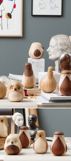 Lars Beller Fjetlands adorable collection of carved wooden birds. Taking a single piece of leftover mahogany, Fjetland brings these charming little things to life by way of a lathe. The turning process he uses in manufacture combines with the idea of the regeneration of a discarded piece of wood to inspire the collection's name. | Hem | Enjoy 15% off until June 30 using this special link!  http://hem.com/enjoy/pinterest/