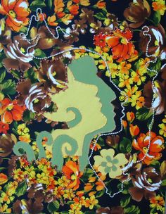 Visage du Amor stretched fabric art 16 x20 victorian by sadapple, $80.00