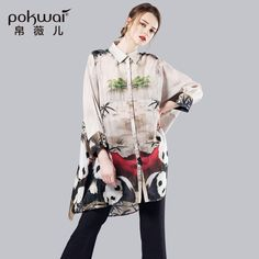 POKWAI High Quality Silk Long Shirts Women Elegants 2016 Batwing Sleeve Turn-Down Collar Casual Chiffon Tops Design Blouses