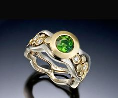 Custom Made Wave And Pebble Ring With Green Tourmaline And Diamonds