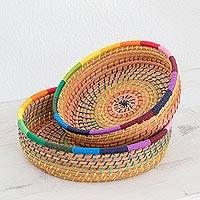 Pine needle baskets, 'Journey to Tecpan in Rainbow' (pair) - Handmade Pine Needle and Cotton Baskets in Rainbow (Pair)...