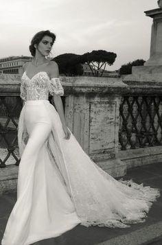 Featured Dress: Julie Vino; Off-the-shoulder overskirt wedding dress.