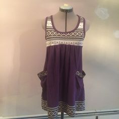 SAB STREET Jersey Dress  Cute sleeveless dress with pockets. Sweater type patterned fabric for the details, and purple fabric feels like jersey. Marked 38, can fit a medium US. Think it is a Japanese brand. Feel free to ask any questions regarding sizing. Sab Street Dresses Mini
