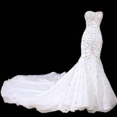Intricately  beaded sweetheart mermaid wedding dress with trian  custom made