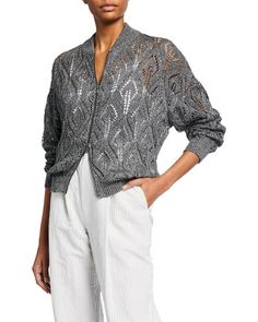 Brunello Cucinelli, Summer Knitting, Crochet Fashion, Knit Cardigan, Bomber Jacket, Neiman Marcus, Knitwear, Luxury Fashion, Cashmere