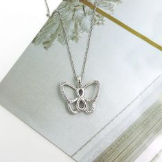"""STERLING SILVER DIAMOND INFINITY BUTTERFLY PENDANT & 18"""" CHAIN"""