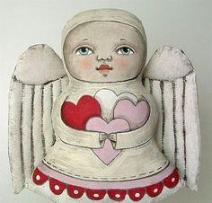Angel Love Contemporary Folk Art Valentine by cartbeforethehorse, $110.00