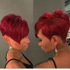 15 Ways To Style Short Hair Red-Pixie-HairCut Short Haircuts for Black Women 2019 Red Pixie Haircut, Blonde Pixie Hair, Curly Pixie Hairstyles, Prom Hairstyles For Short Hair, My Hairstyle, Weave Hairstyles, Curly Hair Styles, Natural Hair Styles, Haircut Short