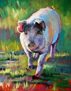 Folk Art aceo Print of painting pig baby piglet pink piggy farm animal daisy DC