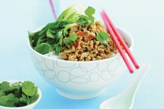 Thai-flavoured chicken mince with rice This weekday winner meal is bound to become a family-favourite. Mince Recipes, Cooking Recipes, Cooking Ideas, Beef Recipes, Asian Recipes, Healthy Recipes, Thai Recipes, Asian Foods, Healthy Breakfasts