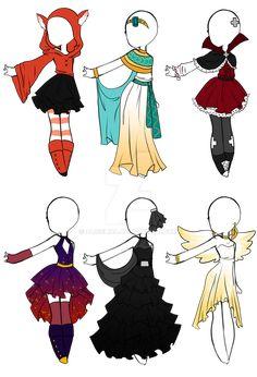 Manga Clothes, Drawing Anime Clothes, Clothes Design Drawing, Kawaii Drawings, Cute Drawings, Outfit Drawings, Anime Girl Drawings, Anime Poses Reference, Fashion Design Drawings