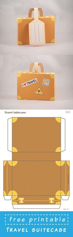 DIY Printable Travel Suitcase with Address Tag Free Printable Suitcase template. Just dowload and assemble. Printable Box, Free Printables, Paddington Bear Party, Diy Paper, Paper Crafts, 3d Templates, Diy Box, Paper Toys, Envelopes