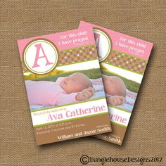 Baby Girl Birth Announcement  DIY PRINTABLE  by bunglehousedesigns.