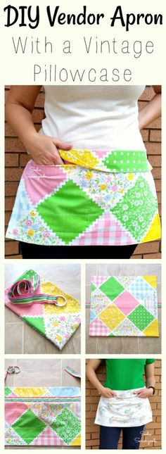 Planning on being a vendor at a market or hosting a yard sale? This is the PERFECT DIY apron for it- it's cute, easy and inexpensive to make, and will hold your hard-earned cash close at hand. I repurposed a vintage pillowcase and a ribbon belt from the thrift store to make this upcycled apron! #SadieSeasongoods / www.sadieseasongoods.com