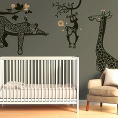 Large Savannah animals Wall Decals for a beautiful nursery decor - Designed by Glue Studio.