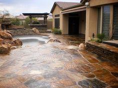 Love This Sealed Flagstone Patio Travertine Tile Ideas Garden