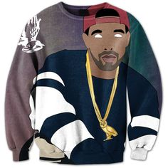 Drake The God Crewneck ($65) ❤ liked on Polyvore featuring tops, shirts, sweatshirts, crew neck shirt, crew shirt, checkered top, checkered shirt and crew top