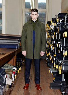 LOOK 5  RAINCOAT - GVAW14100175580 - MOSS GREEN  CHUNKY KNIT SCARF - GVAW14602400Y580 - MOSS GREEN  GRANDAD SHIRT - GVAW14300200680 - NAVY BLUE  SUIT TROUSER - GVAW14402345680 - NAVY BLUE  #guiltyvine #menswear #fashion