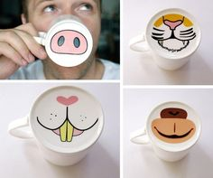 Animal noses on the bottom of mugs!