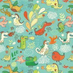 Julia Grigorieva | pattern with cute dragons