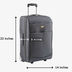 carry-on bag baggage -  The maximum dimensions for a carry-on bag are 9 inches x 14 inches x 22 inches (22 cm x 35 cm x 56 cm), including handles and wheels. (United Airlines)