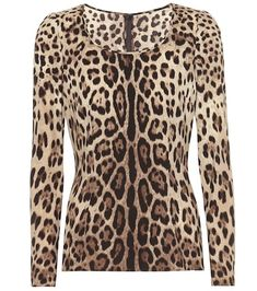 Tap the season's trend for exotic motifs with this beige and black leopard-print top from Dolce & Gabbana. Exquisitely crafted in Italy from stretch-silk crêpe, it's cut for a slim fit with a traditional round neck. Crepe Top, Silk Crepe, Metallic Blouses, Leopard Jacket, Leopard Print Bikini, Satin Top, Silk Satin, Beachwear For Women, Couture Fashion