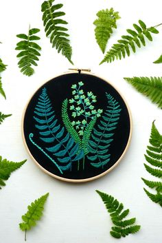 Modern botanical embroidery kit with ferns design suitable for beginners and expert stitchers. Finished piece makes a decorative piece of contemporary hoop art Wooden Embroidery Hoops, Embroidery Hoop Art, Hand Embroidery Designs, Cross Stitch Embroidery, Embroidery Patterns, Hungarian Embroidery, Embroidery Jewelry, Japanese Embroidery, 7 Arts