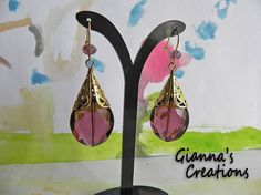 Earrings with big crystal metallic gold tone by GiannasCreations, $12.00