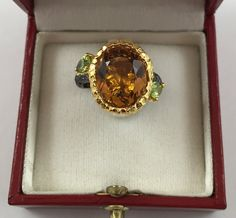 If only this came in my size!!! New GORGEOUS 8.74 ct Citrine and Peridot on 18K Yellow Gold over Sterling Silver Ring size 7.5