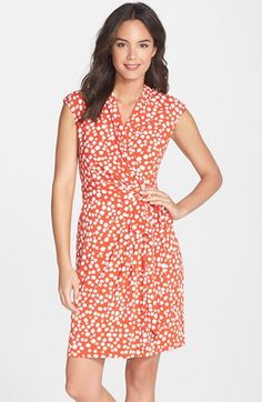 Eliza J Dot Print Jersey Faux Wrap Dress (Regular & Petite) available at #Nordstrom