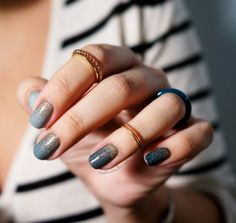 blue ombre with gold.