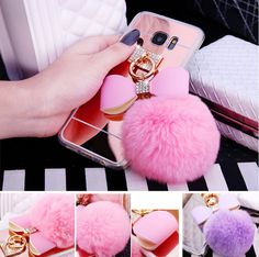 Luxury Bling Fur Ball Bowknot Samsung S7 Edge Cases Mirror TPU Back Cover For Samsung iPhone
