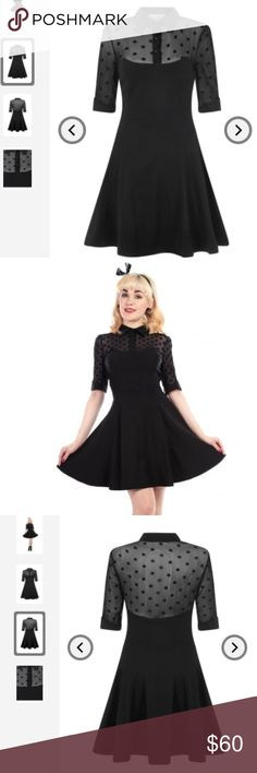 Collectif Mainline Wednesday Skater Dress NWT Brand new, with tags, in plastic bag.  Super cute dress from UK brand Collectif (sold out on the Collectif website).  Size Medium/UK 12 (US size 8)  Has cute collar and cuffs, mesh polka dot detail to the shoulders and sleeves and the rest is solid black. Fits true to size, but fabric has a lot of stretch.  Approximate Total Length: 35 inches.  Fabric: Main: 60% Cotton 35% Nylon 5% Spandex. Mesh: 100% Nylon. Collectif Dresses