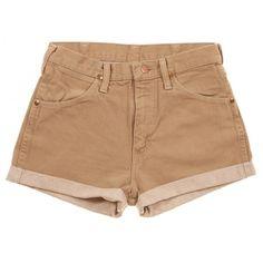 Rokit Recycled Wrangler Denim Turn Up Shorts W30 ❤ liked on Polyvore featuring shorts, bottoms, pants, short, hot pants, mini shorts, beige shorts, vintage denim shorts and wrangler shorts