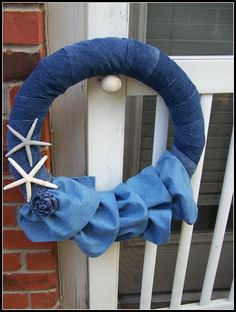 Denim Starfish Wreath Made from Old Jeans
