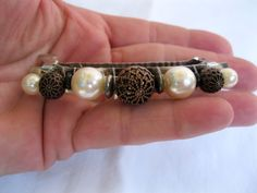 Vtg New Filigree Style Copper Tone Pearl Hair Barrette French Clip Retro 70's | eBay