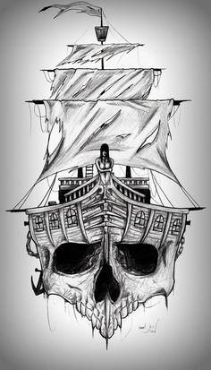 Haunted Waters by mvlaniel on DeviantArt Pirate Skull Tattoos, Pirate Ship Tattoos, Skull Sleeve Tattoos, Pirate Ship Tattoo Drawing, Pirate Compass Tattoo, Viking Ship Tattoo, Skull Tattoo Design, Tattoo Design Drawings, Tattoo Sketches
