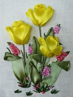Ribbon embroidery, ribbon flowers, embroidered tulips