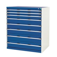 Bott ® industrial drawer cabinet with heavy duty drawers that extend to for robust workshop storage. Industrial Drawers, Industrial Shelving, Steel Channel, Garage Interior, Steel Cabinet, Workshop Storage, Shelving Systems, Rubber Mat, Storage Design